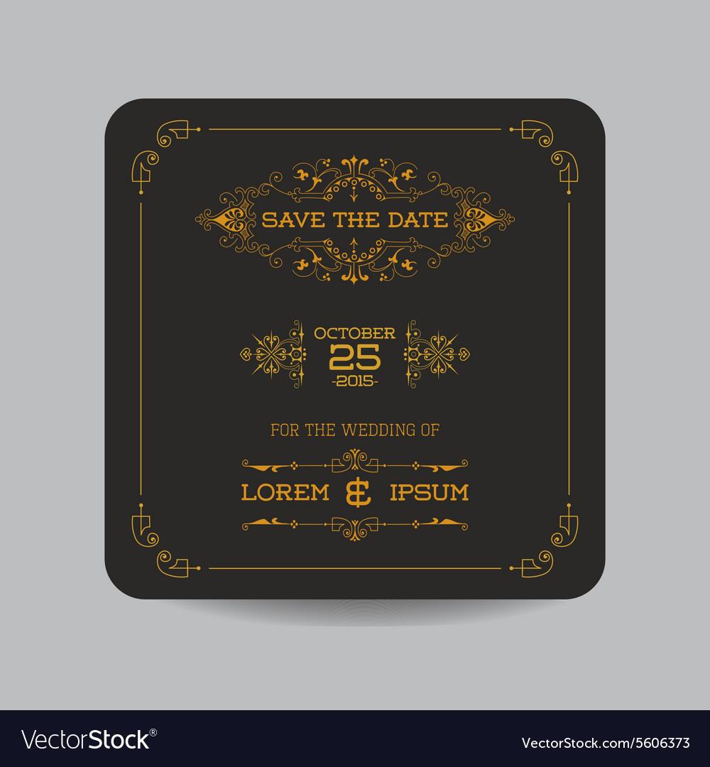 Wedding Invitation Card - Art Deco Vintage Style vector image
