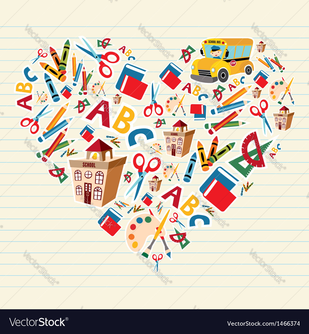 Back to school love heart vector image