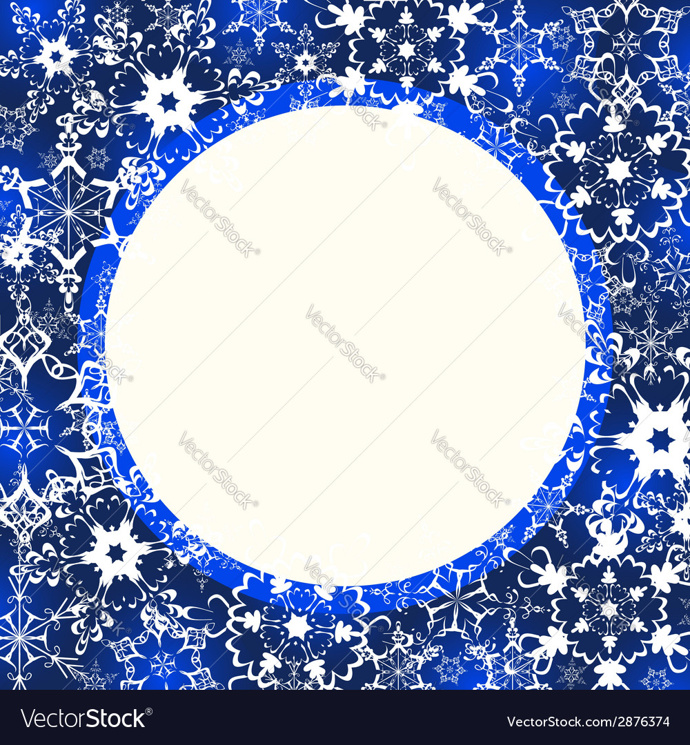Blue winter frame with ornate snowflakes vector image