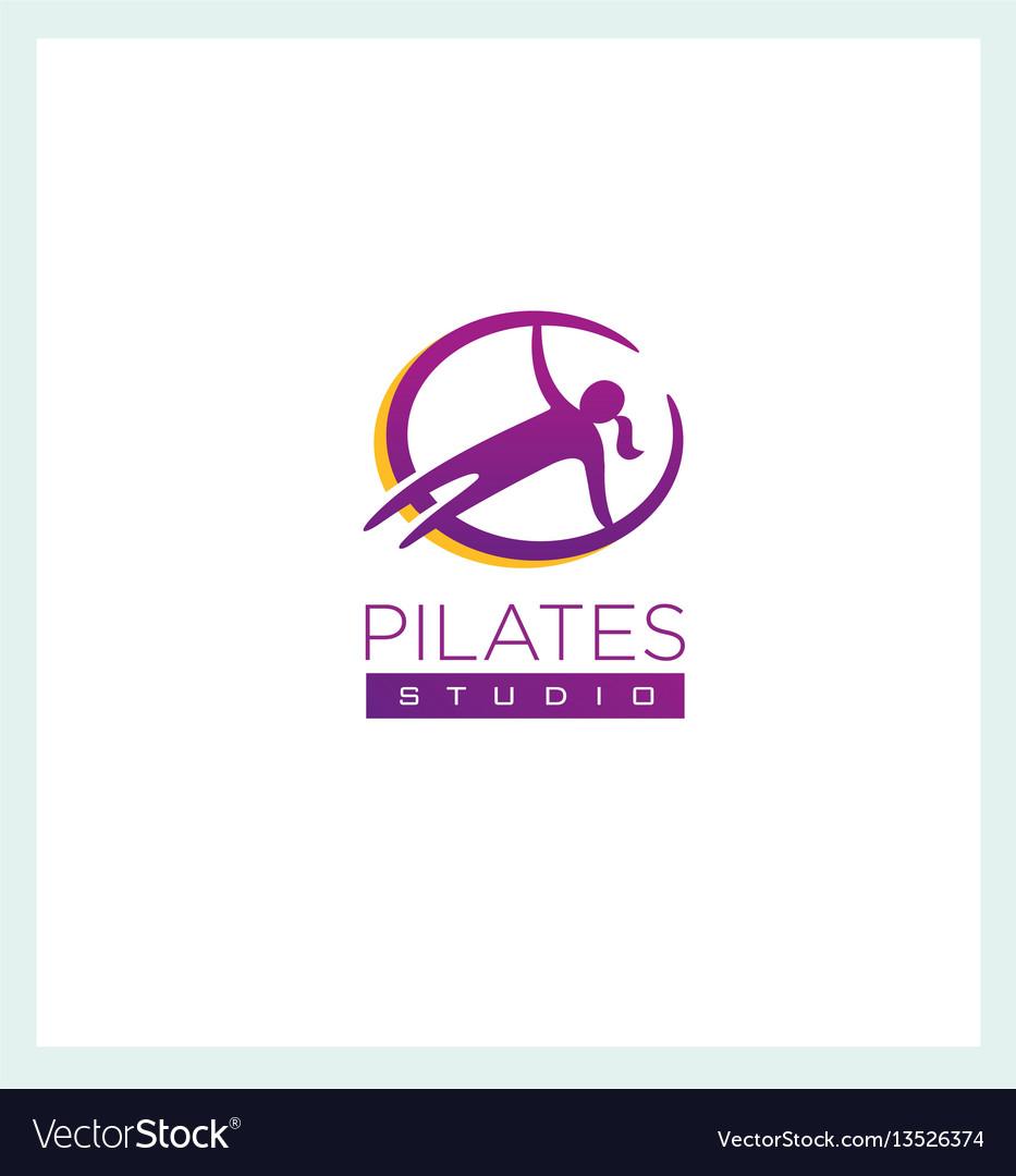 Pilates studio creative sign concep femine vector image