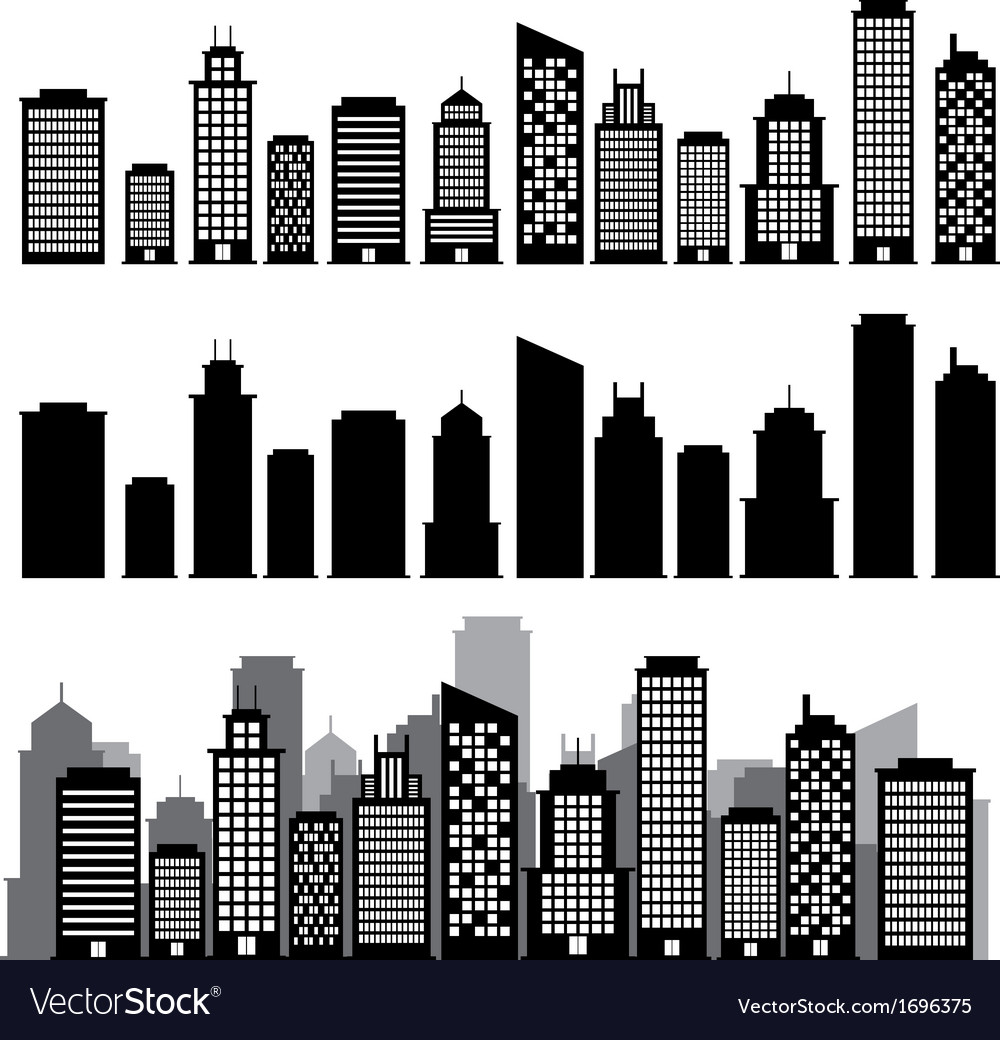 Building black and white icon set vector image