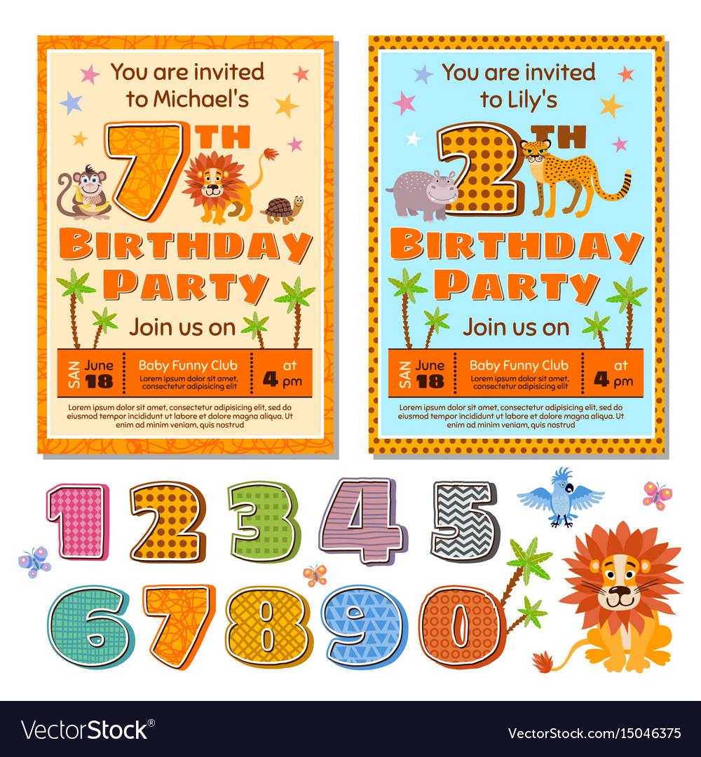 Children birthday party invitation card Royalty Free Vector