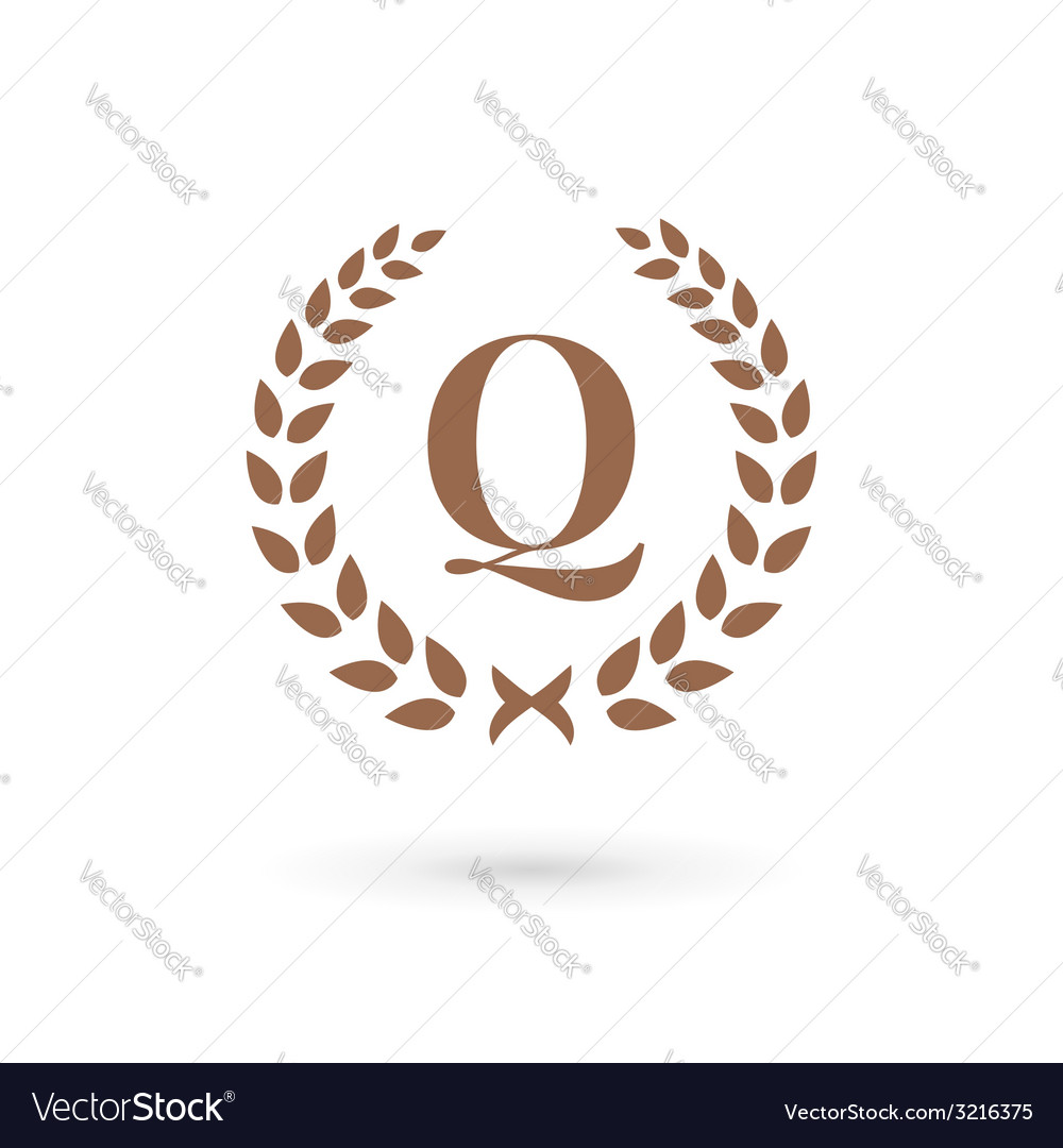 letter q laurel wreath logo icon design template vector image