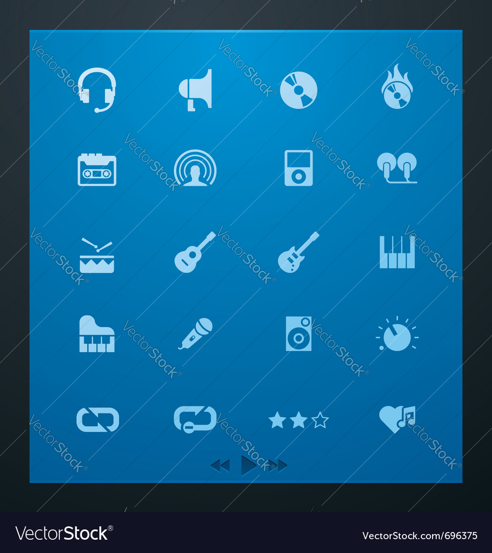 Universal glyphs 5 audio and music set vector image