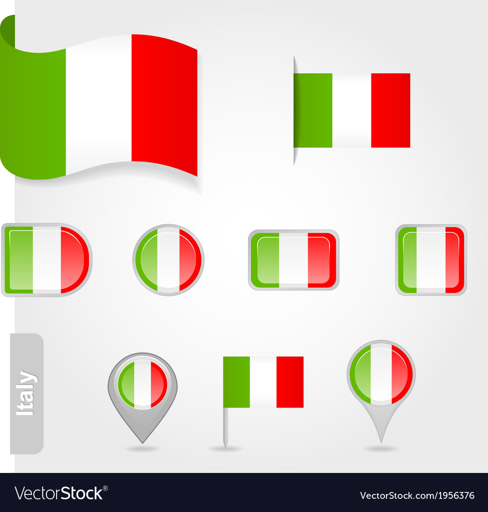 Italy flag icon set vector image
