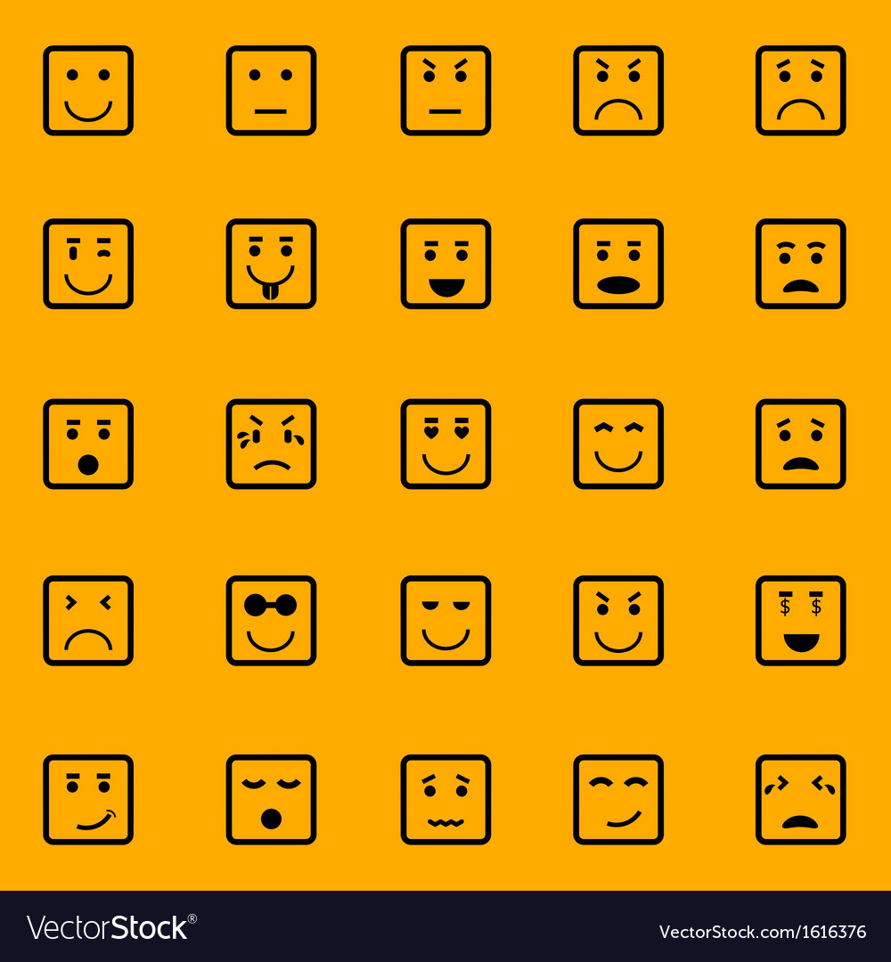 Square face icons on orange background vector image