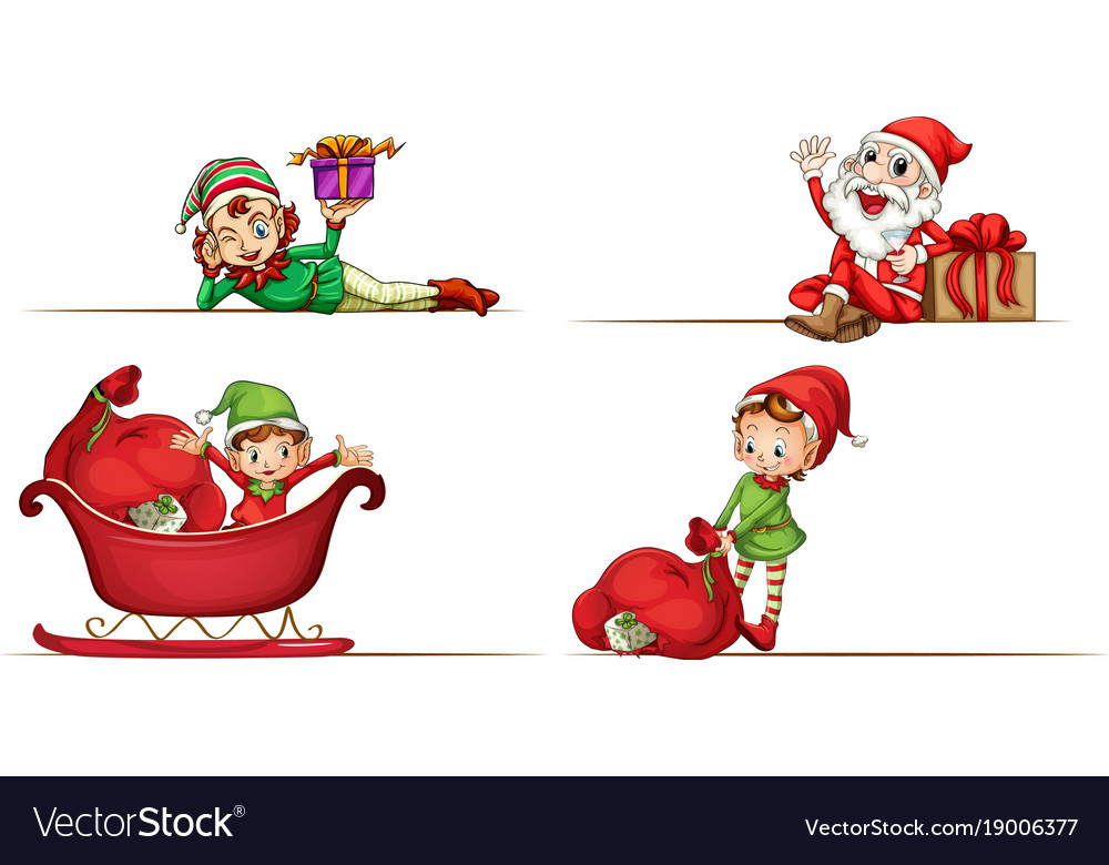 Santa and christmas elves on white background vector image
