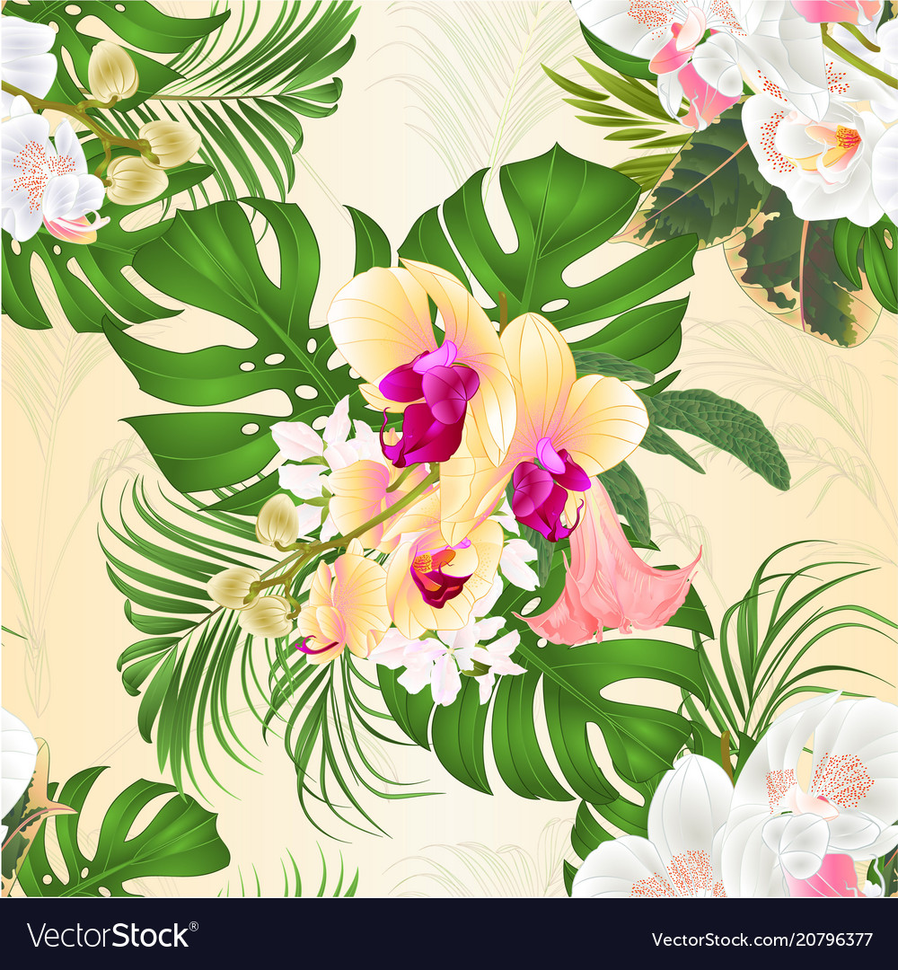 Seamless texture bouquet with tropical flowers vector image izmirmasajfo Gallery