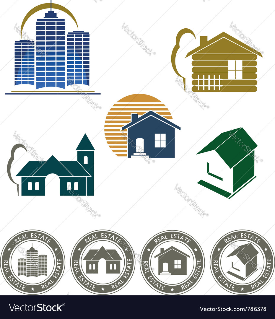 Real estate emblem and stamp Vector Image