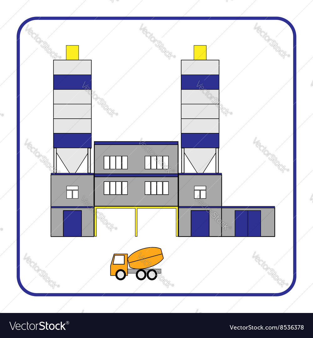 Concrete production plant icon with truck in the vector image