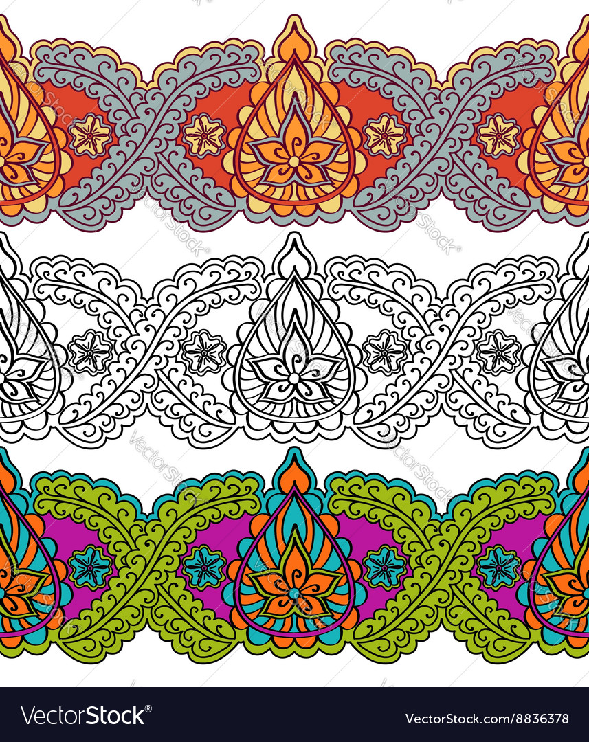 Seamless decorative border in the Indian style vector image