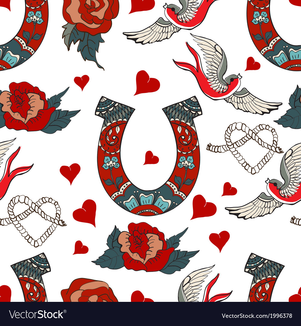 Seamless pattern with horseshoe with floral vector image