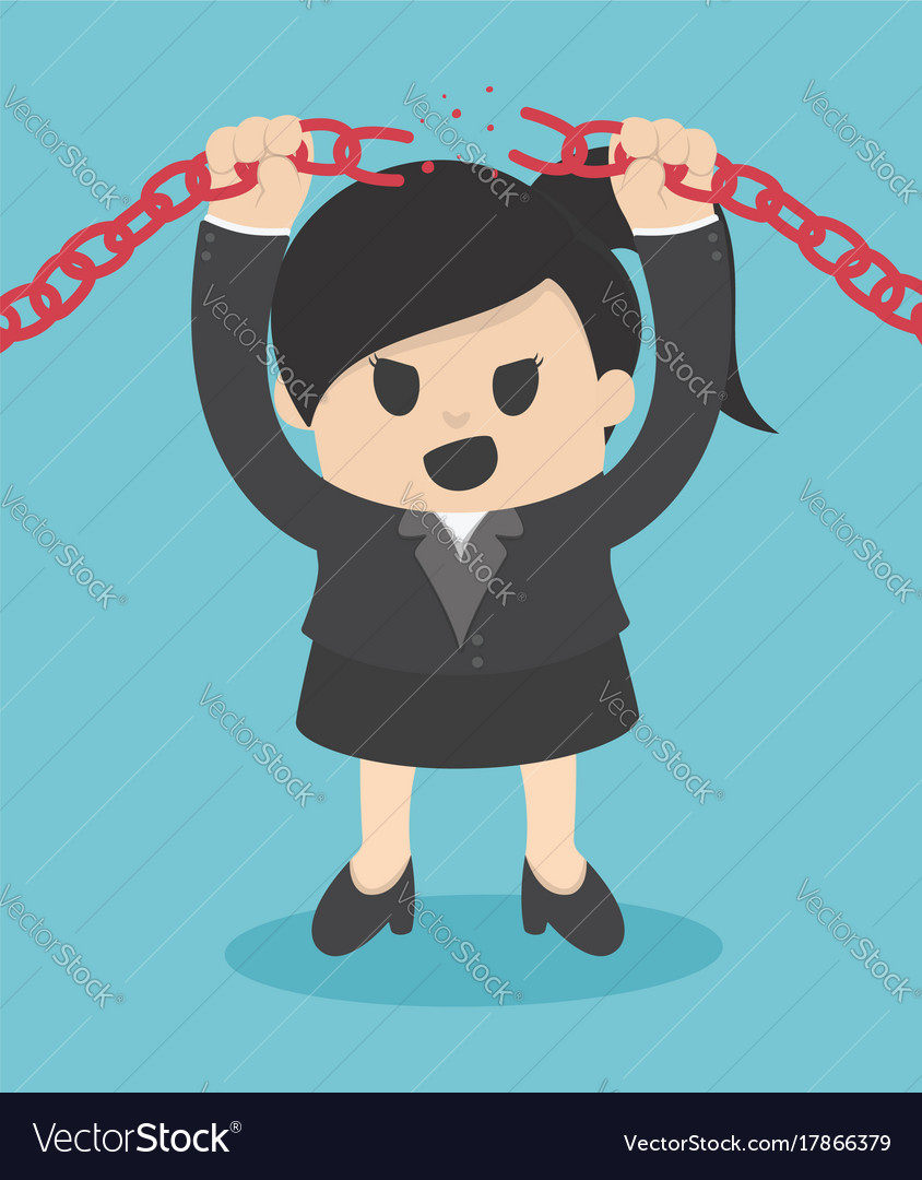 Business woman breaking metal chain with hands vector image
