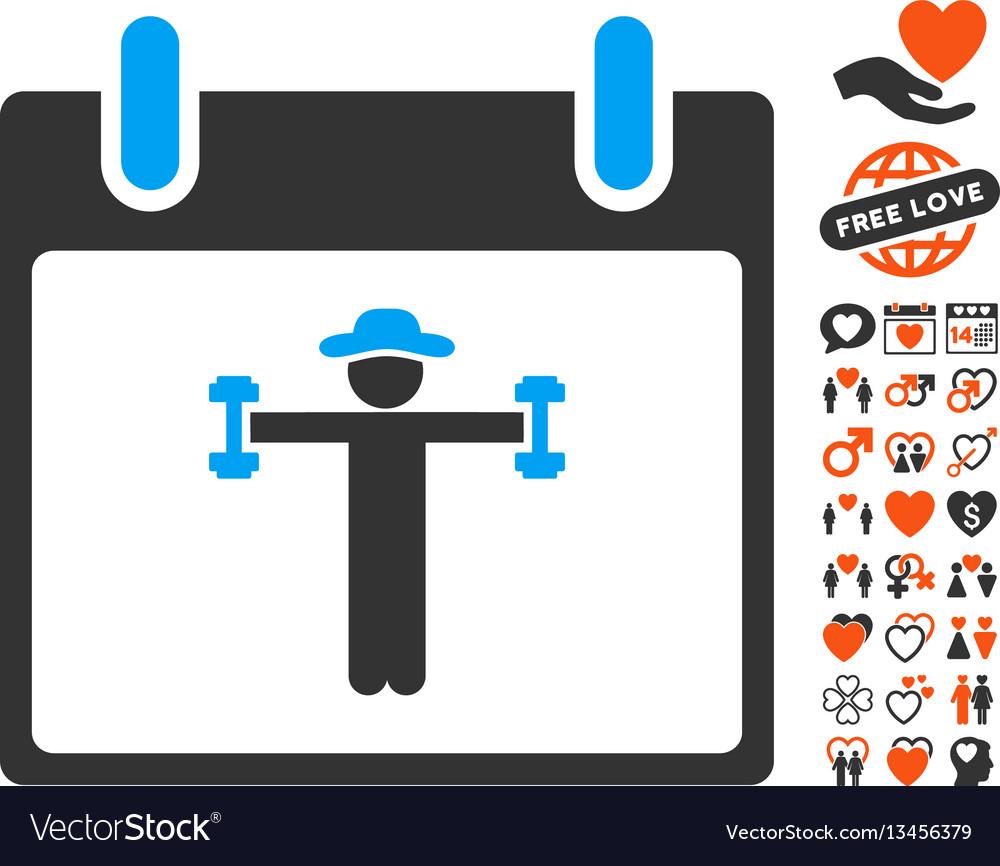 Fitness calendar day icon with valentine bonus vector image