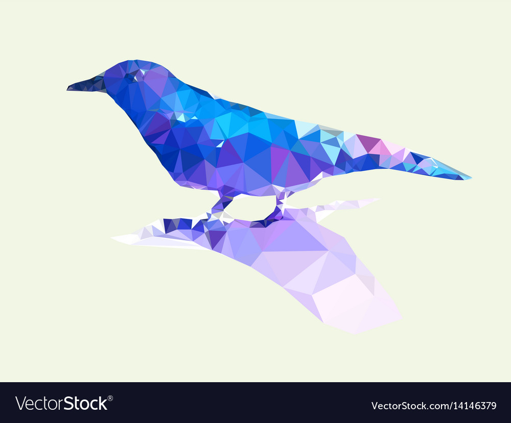 Low polygonal of blue bird on light green vector image