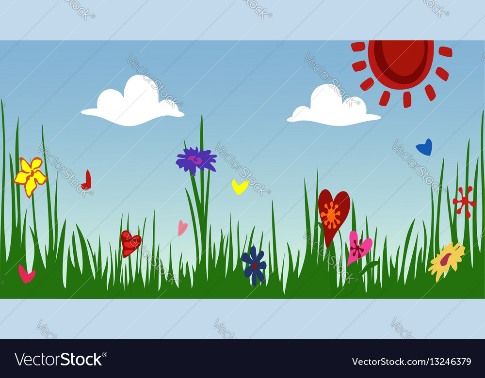 The idyllic cartoonish picture of a warm summer vector image
