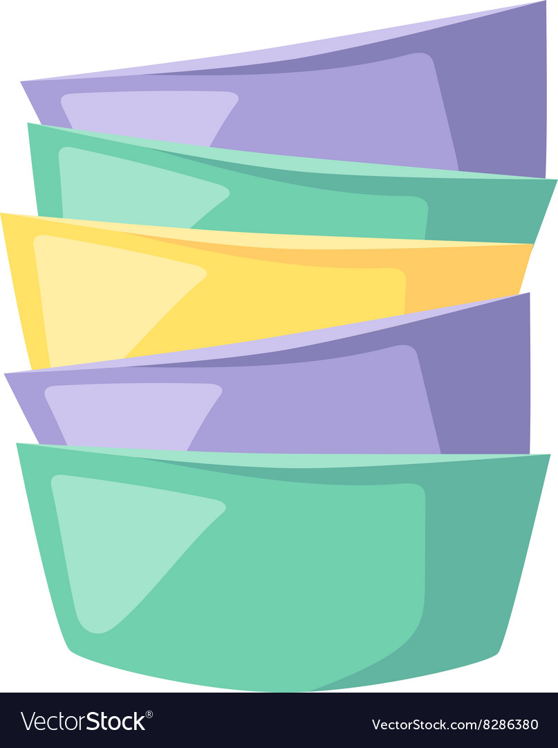 Bowls soup pile composition in merging color flat vector image