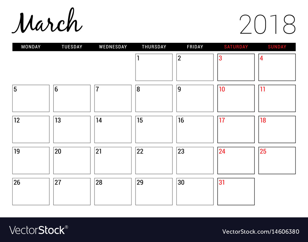 Calendar March 2018 Design : March printable calendar planner design vector image
