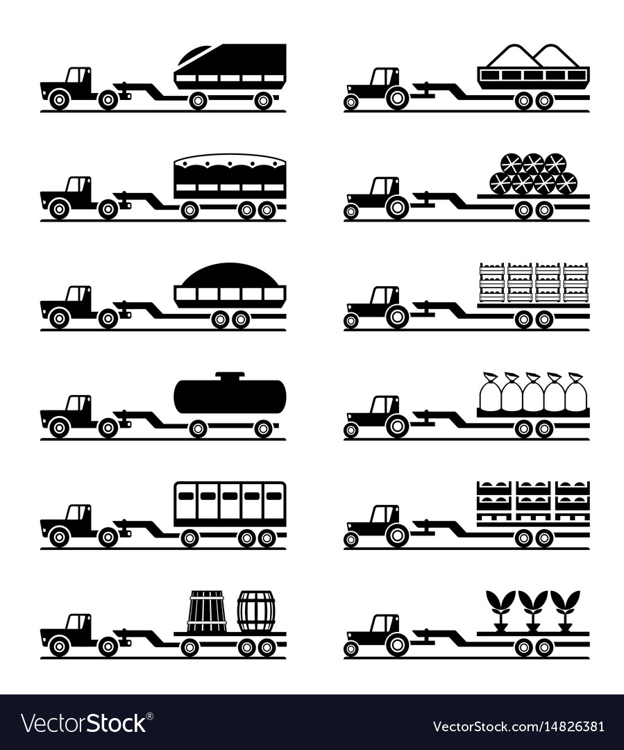 Agricultural tractors with trailers vector image