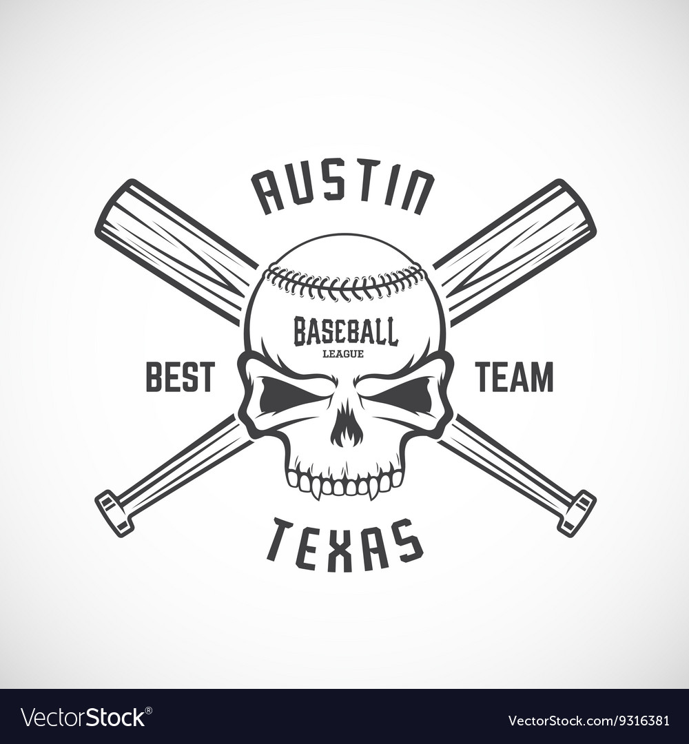 Hand Drawn Baseball Team Logo Template Skull and Vector Image