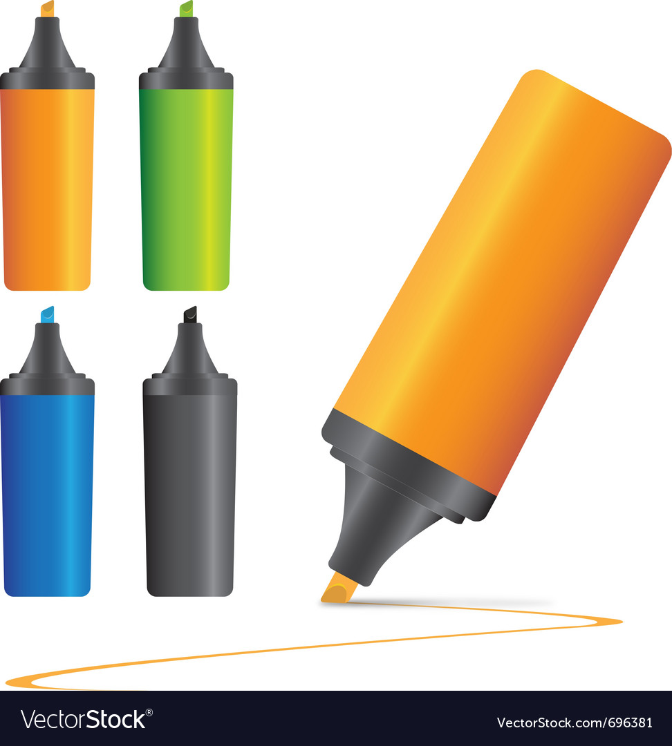 Set of highlighter pen marker s vector image