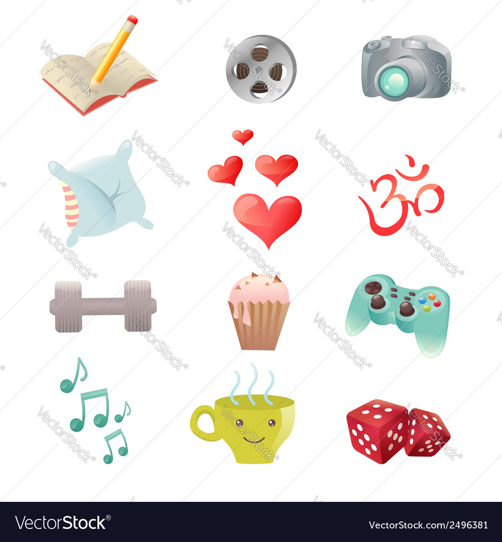 Set of hobby icons showing pastime activities vector image