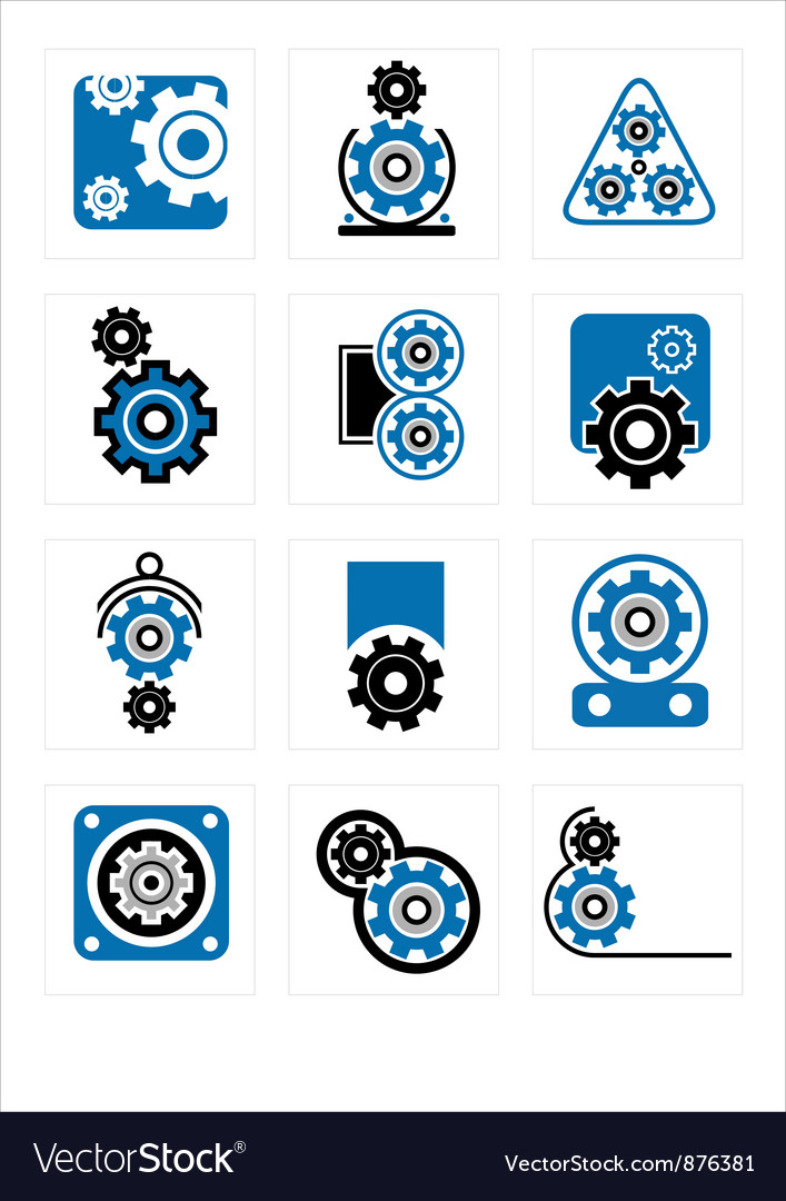 Set of symbols Gear vector image