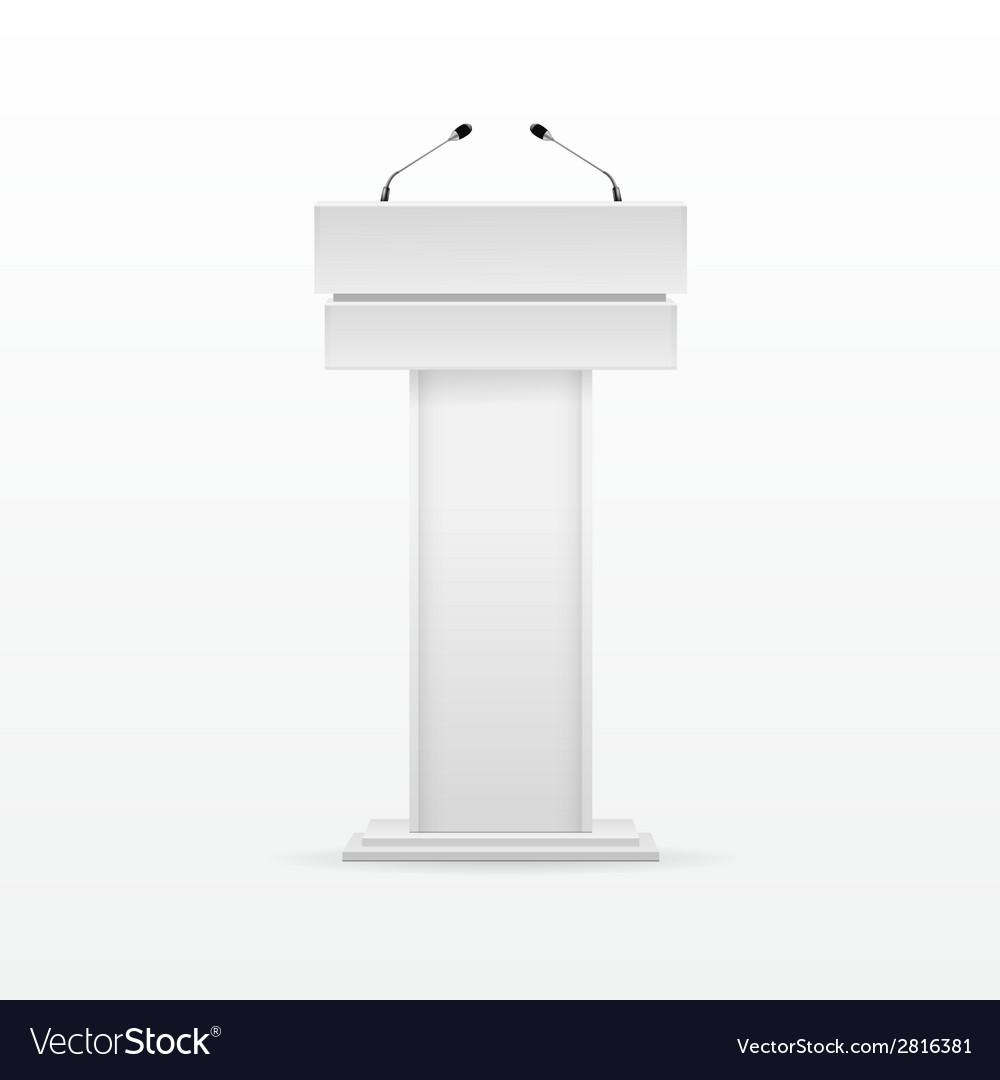 White Podium Tribune Rostrum Stand with Microphone vector image