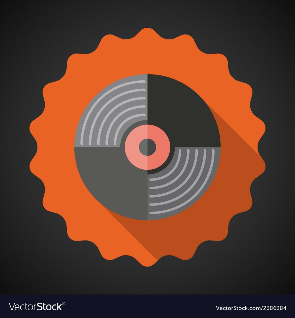 Music Vinyl Record Flat Icon vector image