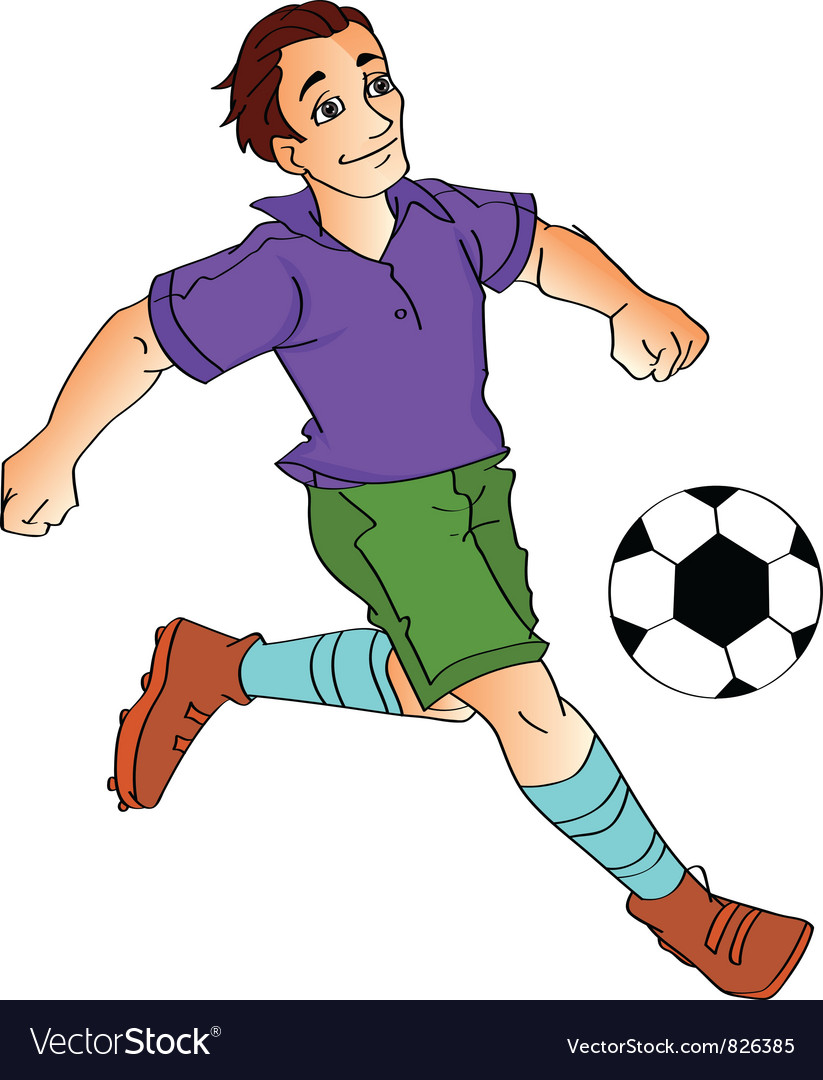 cartoon boy footballer kick vector image