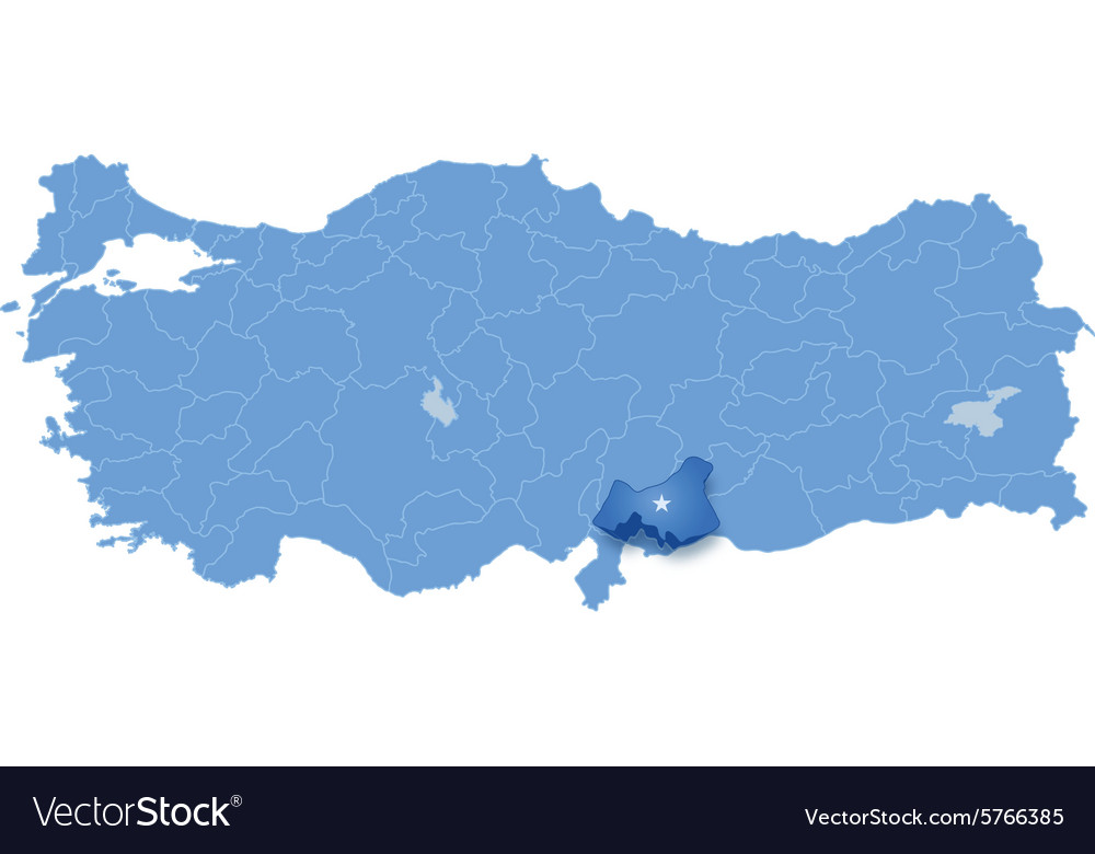 Map of Turkey Gaziantep Royalty Free Vector Image