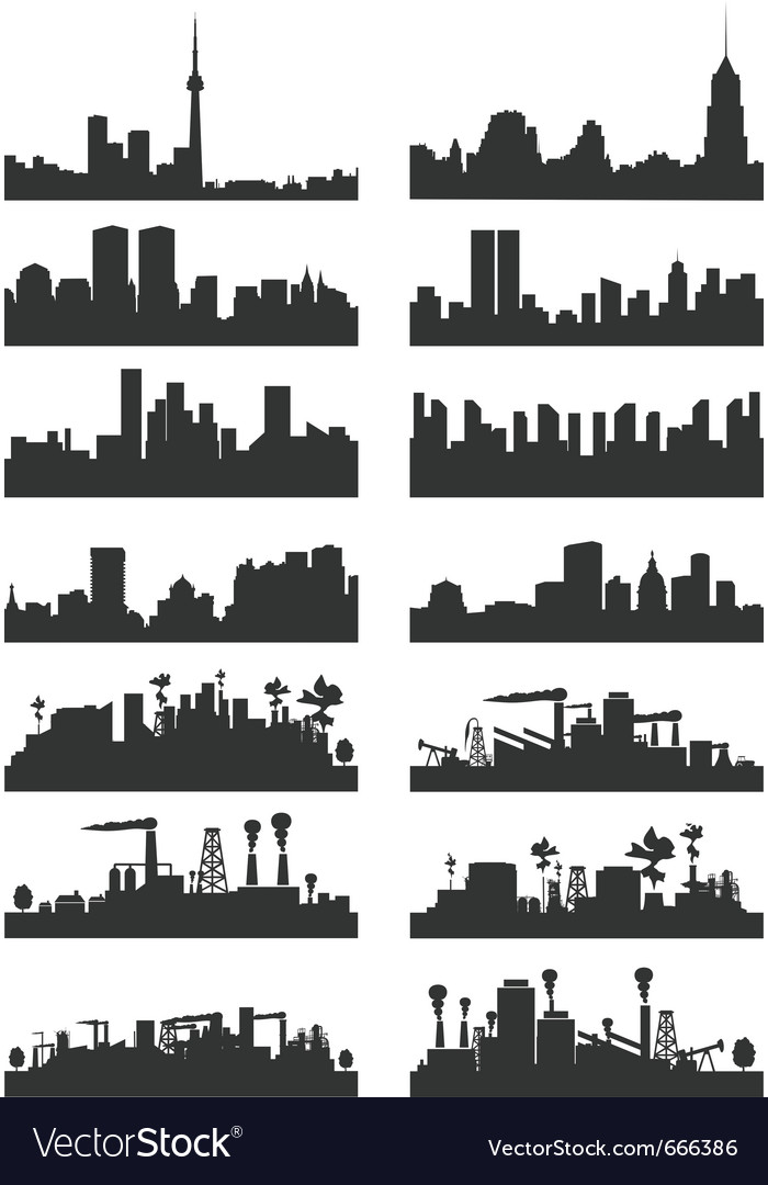 Cities silhouettes vector image