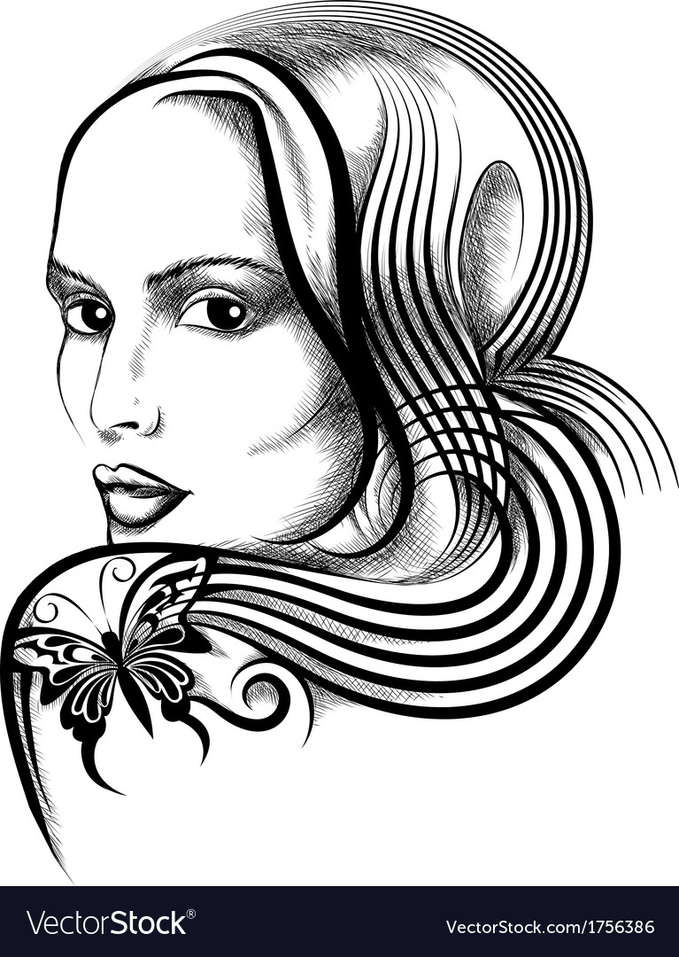 Woman with butterfly tattoo vector image