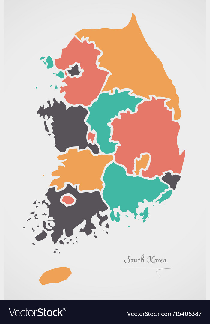South Korea Map With States And Modern Round Vector Image - South korea map vector