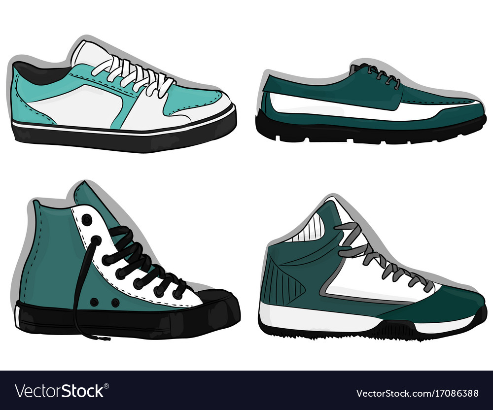 A set of shoes blue and dark blue sport shoes eps vector image