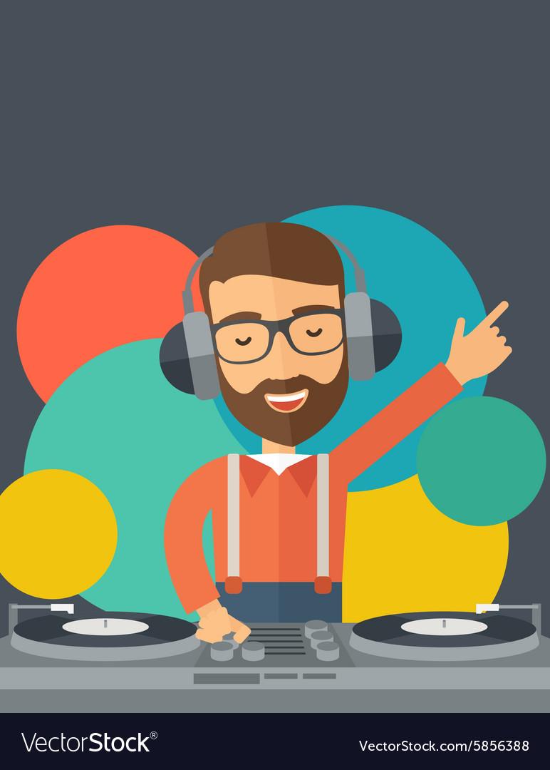 Disc jockey mixing music vector image