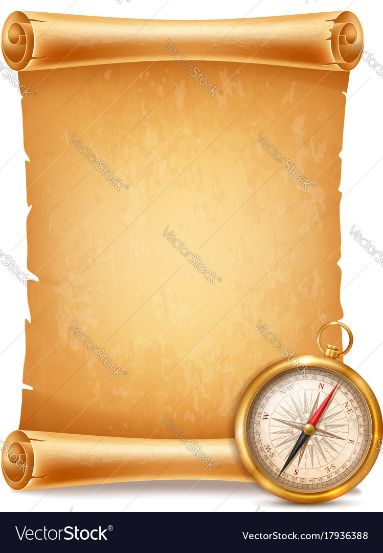 Vintage compass and antique scroll vector image