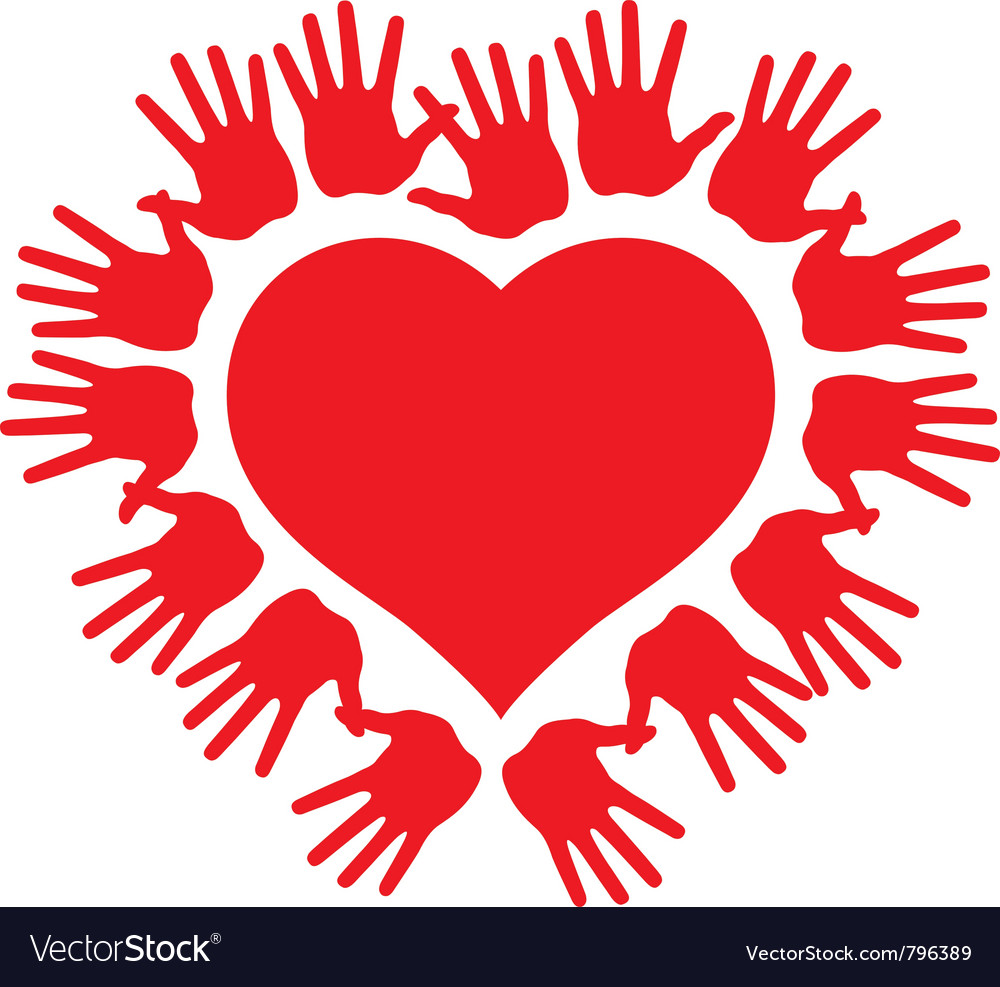 Hands around a heart vector image
