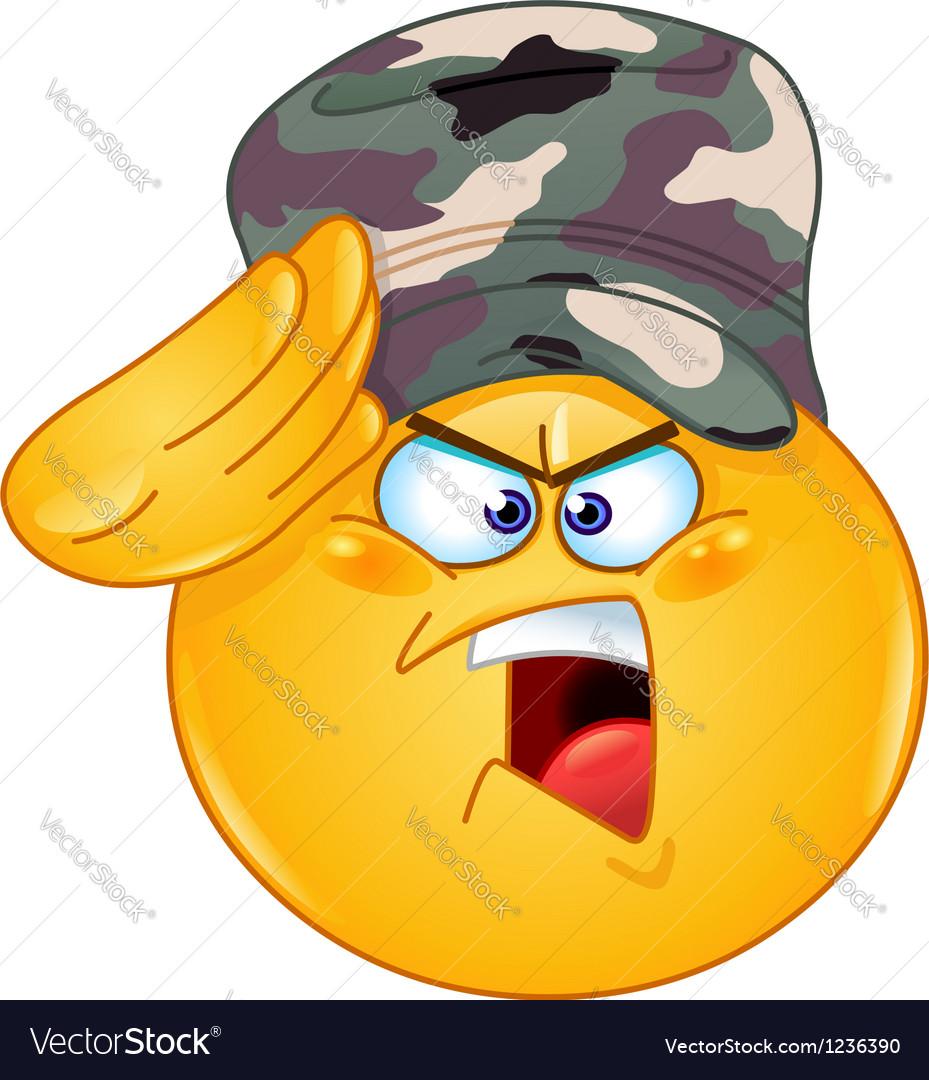 Soldier saluting emoticon vector image