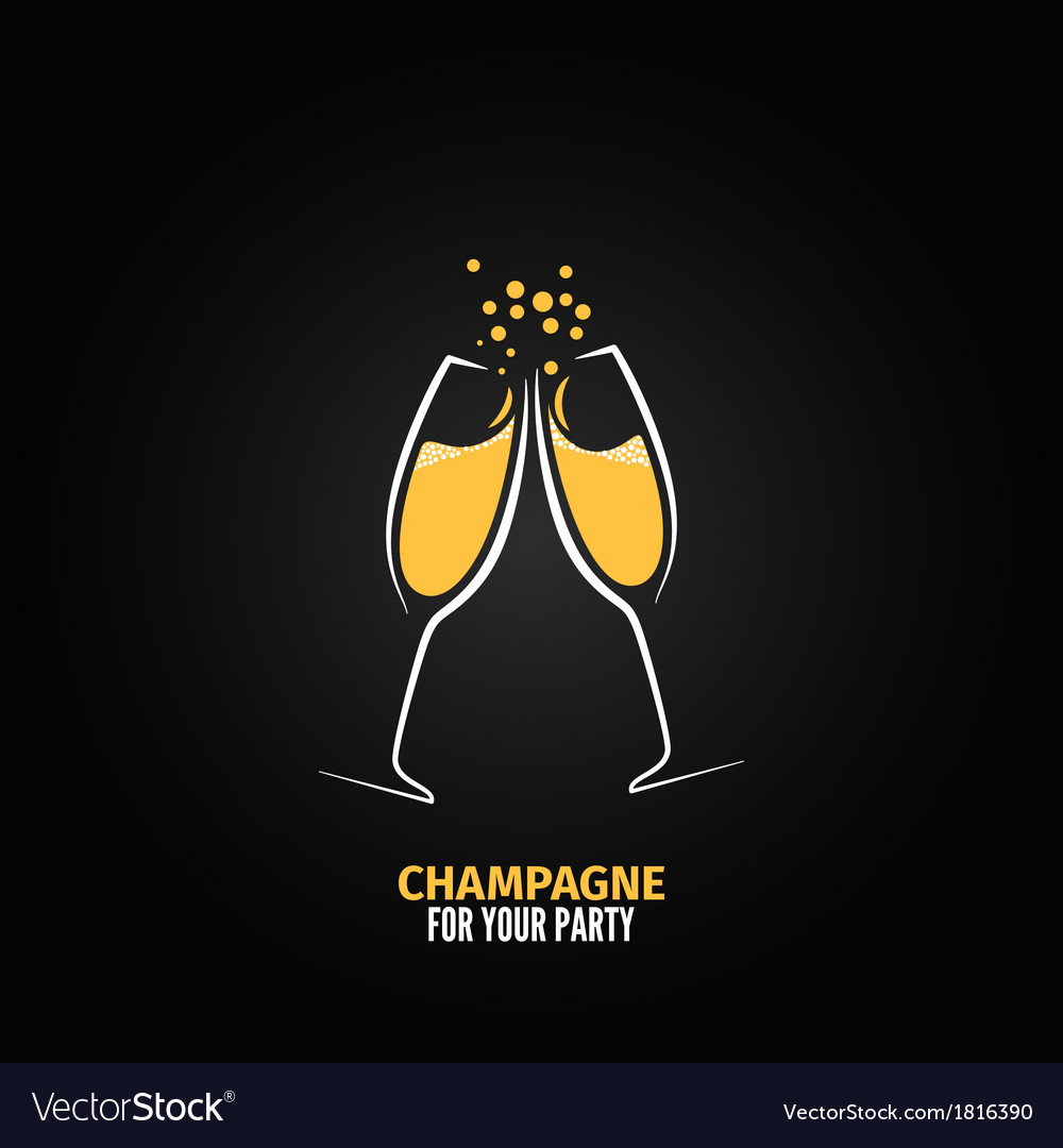 Champagne glass design party menu background vector image