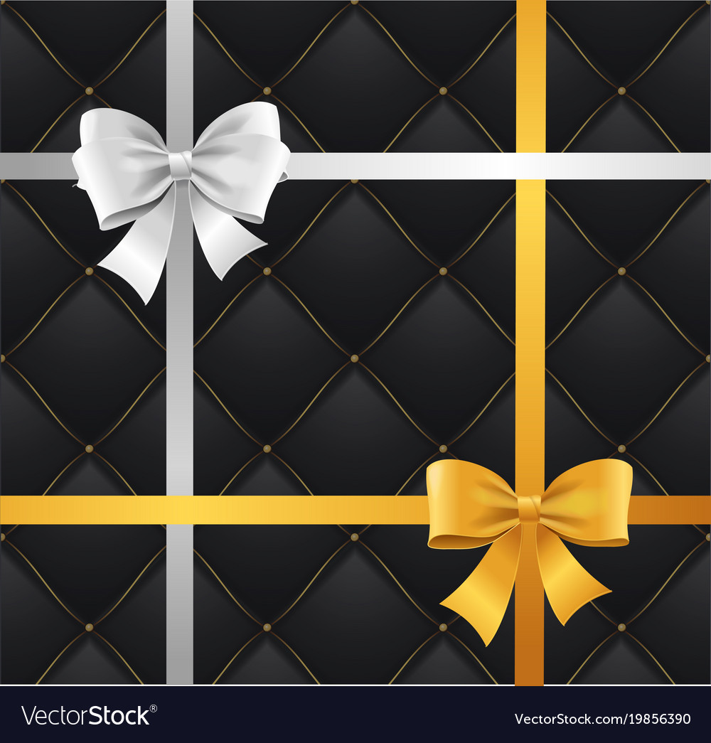 Realistic 3d detailed silk ribbon bow and quilted vector image