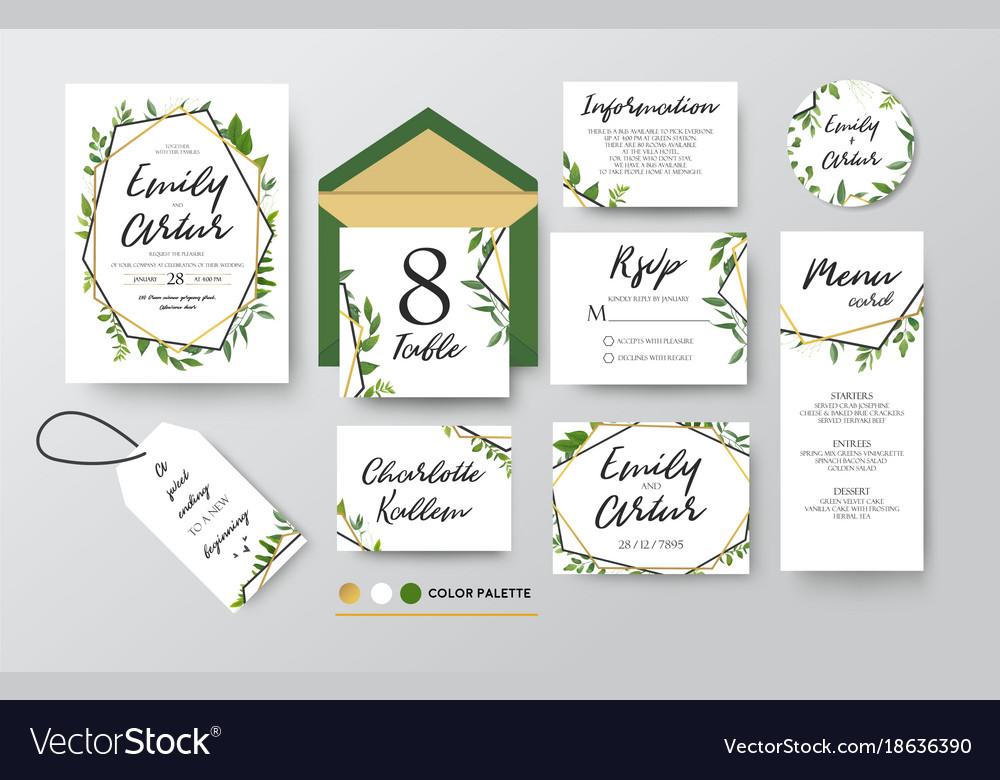 Wedding floral invite menu rsvp thank you set vector image