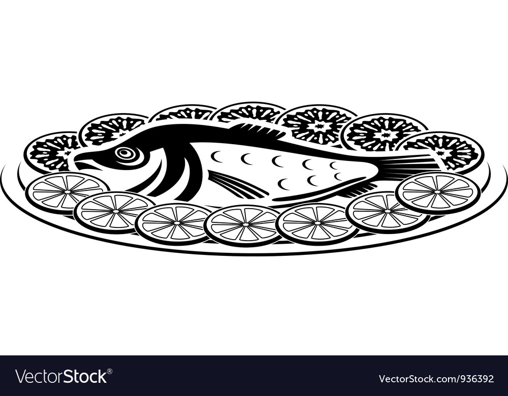 Icon of a fish dish vector image