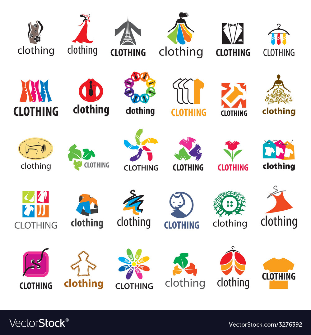 Large set of logos clothing vector image