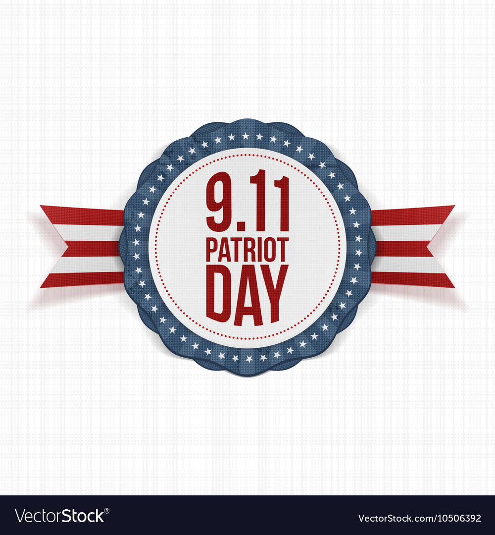 Patriot Day round Label with Ribbon vector image