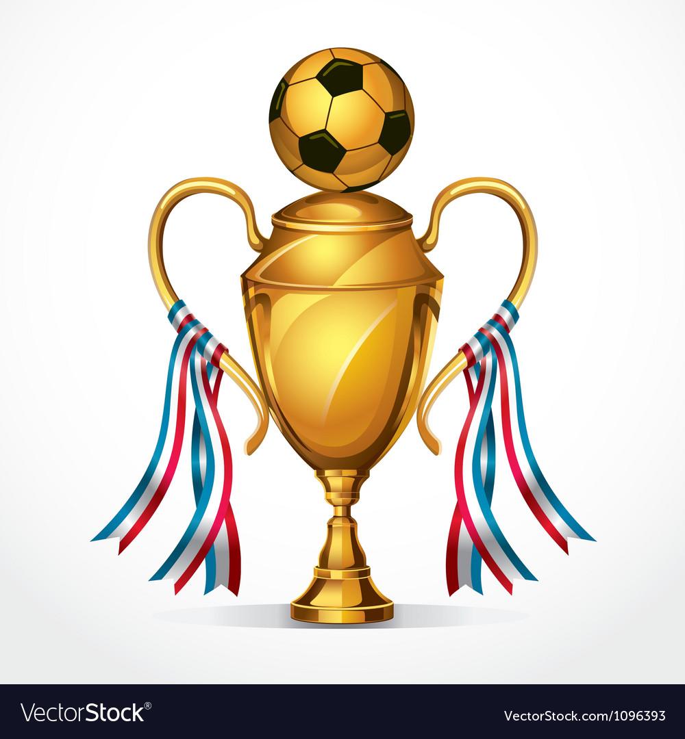 Soccer golden award trophy and ribbon vector image