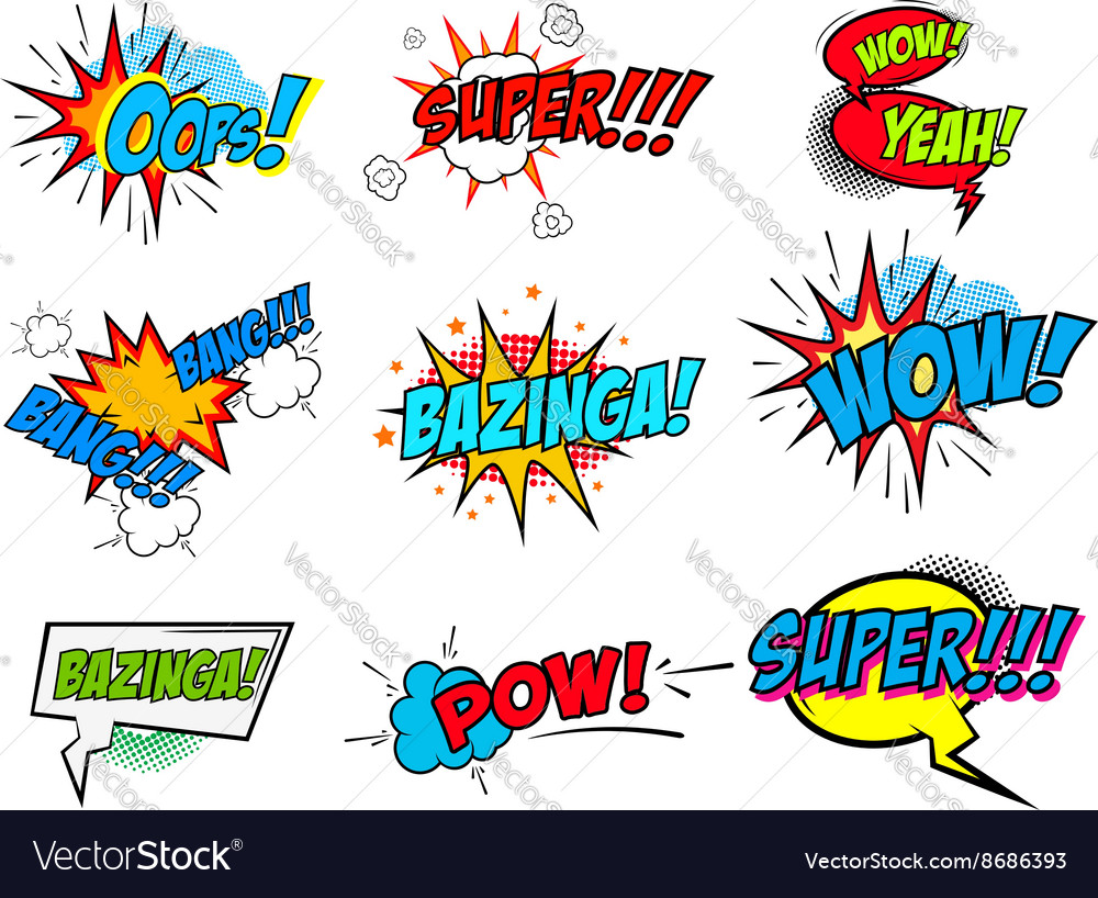 Set of comic text Pop art style phrases vector image
