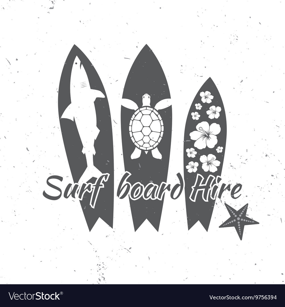 Surf board hire concept Summer surfing retro badge