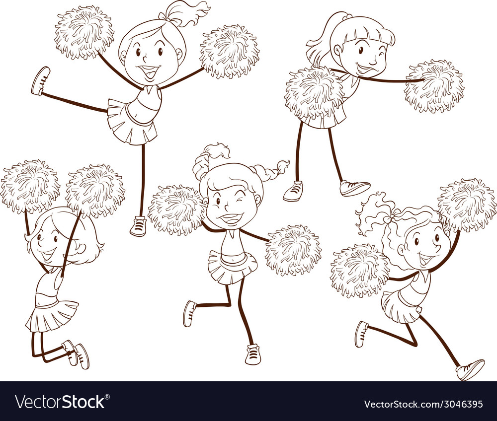 A simple sketch of a cheering squad vector image