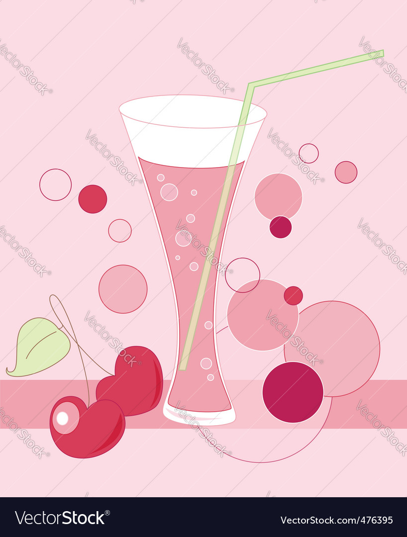 Glass of cherry juice vector image